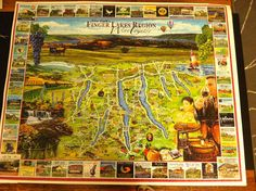 1000 piece puzzle that maps out all the vineyards in the Finger Lakes region. Check out Cayuga Lake!