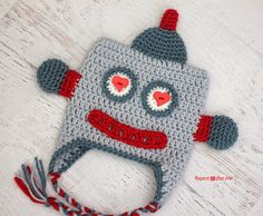 Who says robots can't love?  @zimmermanzoo crocheted this adorable robot hat in Lion Brand's Vanna's Choice for Valentine's Day.   Check out the pattern on her blog.