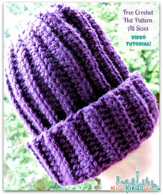 Free Crochet Slouch Hat Pattern and video tutorial