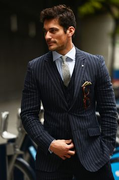 David Gandy, ladies and gents. Three pc pinstripe suit…the epithom of business attire.