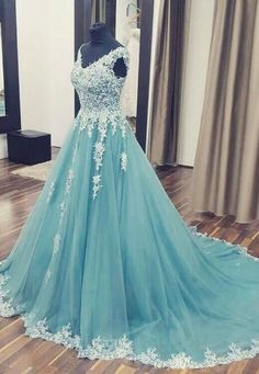 v neck lace tulle long prom dress, tulle evening dress by dresses, $191.25 USD