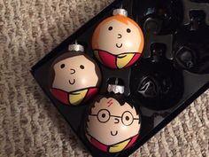 Harry Potter Hermione Granger and Ronald Weasley Hand Painted Ornaments Set of 3