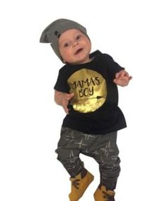 Summer Baby Boy Cotton Letters Printed T-shirt+pants 2pcs Clothes Set