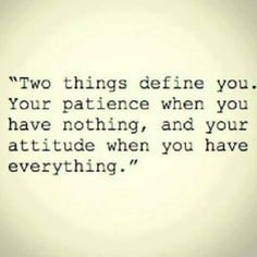 Two things define who you are...