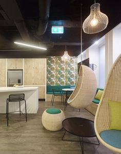 Hanging egg chairs are a perfect relaxation space to enjoy your breaks at work. Or why not take your laptop with you and work whilst feeling as though you're on holiday! Swing swing.