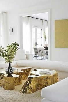 gold tree trunk coffee table - Google Search