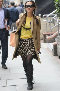 Myleene Klass Rocks A Smiley Face Jumper Out And About In London, 2014