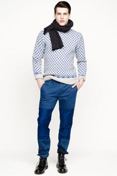 J Crew Fall 2013 Menswear - dotted scarf with diamond shaped pattern long sleeves and sharp blue pants. What grabs my attention is the blue color which the designer has used on the pants. As you take a close look, the designer has same color, but two different materials for the jeans.
