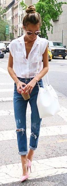 #streetstyle #casualoutfits #spring  White Sleeveless Shirt + Ripped Denim  Something Navy
