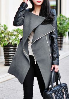 This grey PU sleeve coat features PU leather raglan sleeves design with two zipper closure in front, side pockets and adjustable and removable belt tie at waist. | Lookbook Store