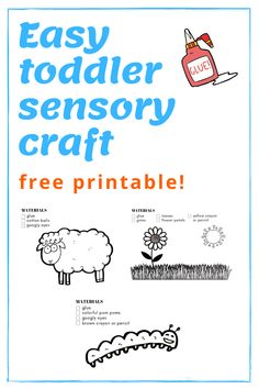 If you are looking for a fun and easy sensory craft to do with your toddler, then you've found it! High Chair Chronicles shares this awesome free printable craft to do with your preschooler. This kid's activity is a fun way to introduce and explore different sensory materials. Print out this activity today! #toddler #sensory #kids #preschool #kidsactivities #printable