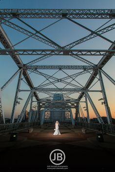 Beautiful Nashville Bridal Session inspiration. Pedestrian bridge bridal photos. Wedding dress photos. Wedding Pictures.  www.josh-bennett.com