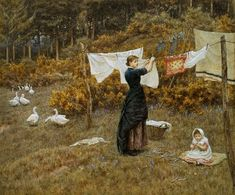 The Clothes Line by Victorian artist Helen Allingham Mary Elizabeth, New Energy, Zombie Apocalypse, Homemaking, Oeuvre D'art, Housekeeping, Just In Case, Illustration, Giclee Print