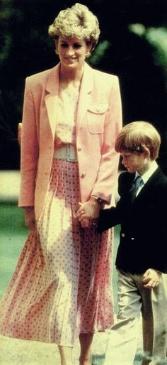 Diana and Harry at Clarence House for the Queen Mother's 92nd birthday.