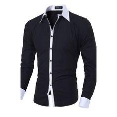 Hombre Negocios Camisa Delgado Un Color 2018 - $8.09