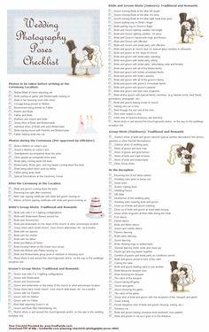 Printable Wedding Photography Poses Checklist - Take as many as you can to remember your special day.