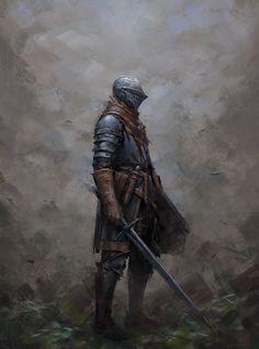 m Fighter Plate Armor Helm Shield Longsword male Traveler Hills Forest lg Fantasy Armor, Medieval Fantasy, Medieval Castle, High Fantasy, Dark Fantasy Art, Fantasy Character Design, Character Art, Dibujos Dark, Arte Dark Souls