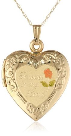 """62% Off was $490.00, now is $185.00! Duragold 14k Yellow Gold """"Forever In My Heart"""" Heart Locket with Pink Rose Pendant Necklace, 18"""" + Free Shipping"""