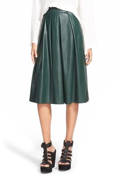 Wayf Faux Leather Pleat Skirt available at #Nordstrom