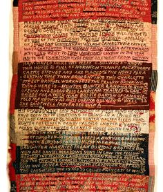 Textile samplers by Lorina Bulwer (born 1838), an inmate of the lunatic ward of the Great Yarmouth Workhouse