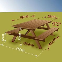 Construire une table de pique-nique - Ooreka - Shoe Tutorial and Ideas Pallet Picnic Tables, Build A Picnic Table, Table Camping, Patio Table, Diy Table, Woodworking Projects Diy, Woodworking Furniture, Diy Wood Projects, Furniture Plans