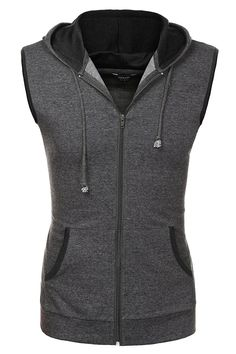 c3b9fdd3c839c4 Casual Fashion Lightweight Sleeveless Hoodies Zip-up Vest Tank Top - Grey -  C91867D7RL6