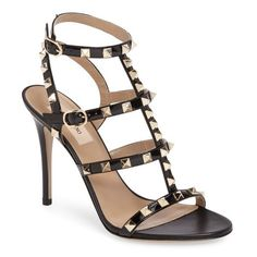 Women's Valentino Rockstud Sandal ($1,045) ❤ liked on Polyvore featuring shoes, sandals, black, black strap sandals, black patent leather sandals, black patent leather shoes, high heel stilettos and valentino sandals