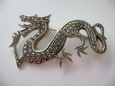 Vintage Sterling Silver Marcasite and Dragon Brooch or Pin 2 1/4 inches