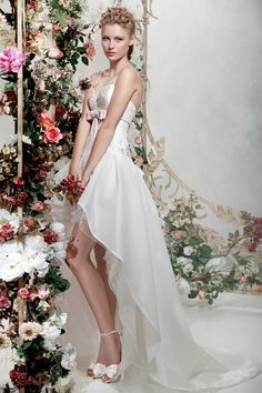 "Perfect dress to wear to your rehearsal dinner, from Papilio ""Flower Cocktail"" bridal collection."