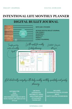 A digital Bujo monthly layout planner to help you stick to goals. Planner Book, Goals Planner, Monthly Planner, Year In Pixels, Weekly Goals, Daily Page, Focus On Your Goals, Bullet Journal Layout, Planner Organization