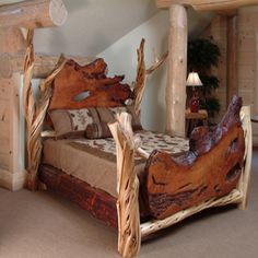Another fabulous log bed. Another fabulous log bed. Another fabulous log bed. Lodge Furniture, Rustic Bedroom Furniture, Rustic Bedding, Wood Furniture, Bedroom Rustic, Mexican Furniture, Luxury Furniture, Bedroom Decor, Quality Furniture