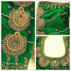 Here, another jewellery on a favourite green. South Indian Blouse Designs, Simple Blouse Designs, Silk Saree Blouse Designs, Bridal Blouse Designs, Blouse Patterns, Silk Sarees, Embroidery Works, Beaded Embroidery, Embroidery Stitches