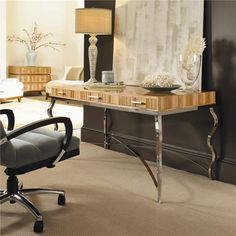 Milan Writing Desk with Metal Base by Century - Baer's Furniture - Table Desk Miami, Ft. Lauderdale, Orlando, Sarasota, Naples, Ft. Myers, Florida
