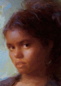 Susan Lyon, oil on museum board {contemporary art #naturalhair female african-american black girl portrait painting detail  #loveart} susanlyon.com