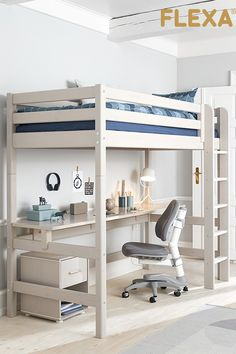 At Scandi-Kids, you will find a large set of scalable and modular beds manufactured by FLEXA, made from natural or bleached wood, and many accessories. Loft Bed Desk, Build A Loft Bed, Loft Bed Plans, Bunk Bed With Desk, Loft Bunk Beds, Loft Beds For Small Rooms, Small Room Desk, Loft Beds For Teens, Small Room Bedroom