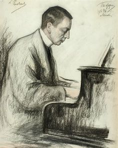 #Portret Sergei #Rachmaninoff - 1916 (Charcoal on paper) Leonid #Pasternak (1862 - 1945)