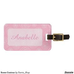 Roses Contour Luggage Tag #pink #white #rose #flower #pattern #floral #blossom #beautiful #cute #seamless #faerieshop #zazzle #luggage #tag #girlish #stylish