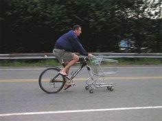 """Et on peut rentrer ds le supermarché avec ?!! """" #vélo #bike #caddie"""