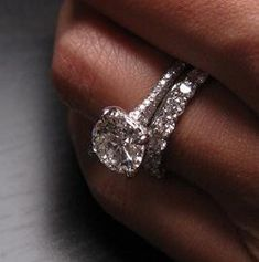 White gold, platinum and diamond engagement/wedding ring