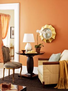 As you can see, there is nothing dull about this color! Buttered Yam wall color by Benjamin Moore