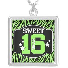 Sweet 16 Lime Zebra Personalized Square Pendant Necklace