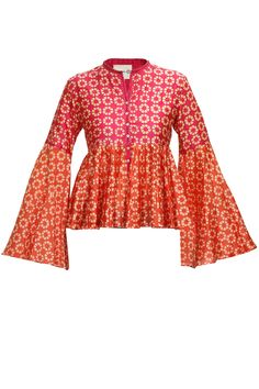 Fuchsia and coral black print kedia style top