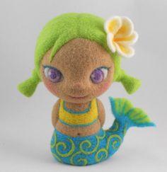 Needle Felted Art Doll Mermaid Green Felted by StevenShipmanArts, $120.00