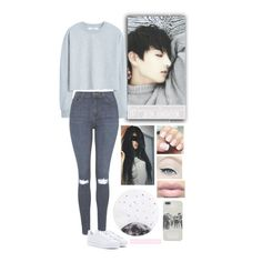 """Jeon Jungkook - BTS"" by typical-ghoul ❤ liked on Polyvore featuring MANGO, Topshop, adidas and Lollipop"