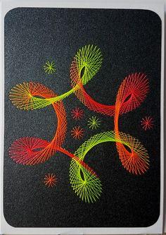 Fadengrafik - GrußKarten - Set mit dem abgebildeten Fadengrafik-Motiv  **gefertigt mit ULTRA-NEON-GARN (extreme Farbkraft, leuchtet unter UV-Schwarzlicht) **  bestehend aus: 1 Doppelkarte /...