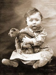 baby with teddy bear, vintage photo