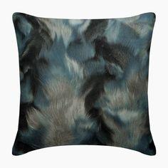 "Designer Blue Throw Pillow Custom 16""x16"", Leather  Suede Sofa Throw Couch Cushion Cover Animal Fur Print Modern Style - Blue Fluff"