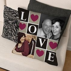 Personalized Love Photo Collage Throw Pillow