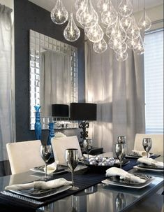 I love EVERYTHING! So posh. I'm sure I could use some of the elements in a tiny apartment dining room....