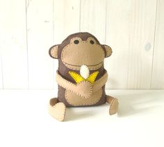 Felt Monkey Hand Sewing PATTERN - So easy!